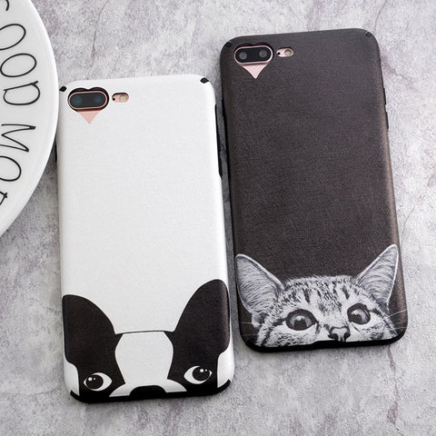 Cute Cat Dog Bulldog iPhone Case