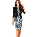 Elegant Floral Checks Office Bodycon - J20Style - 9