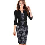 Elegant Floral Checks Office Bodycon - J20Style - 1