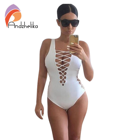 Kardashian Style Lace Up Backless Swimsuit
