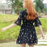 Printed Chiffon Ruffles Floral A-line Dress