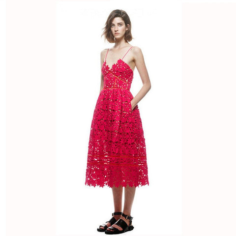 Red Lace Strap Long Dress - J20Style