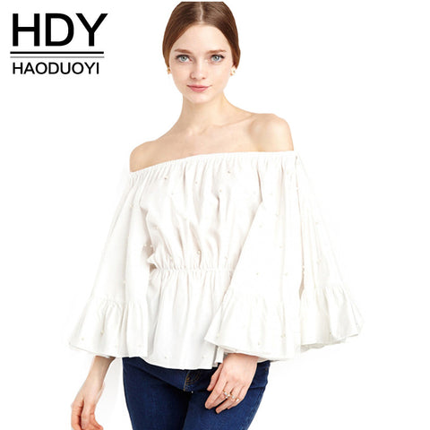 Quarter Sleeve Slim Off Shoulder Blouse