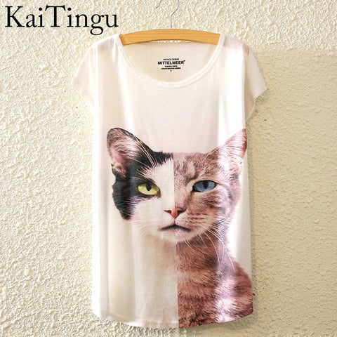 Two face Cat O-Neck Short Sleeve T Shirt