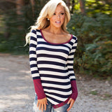 Casual Long Sleeve Striped T-Shirt