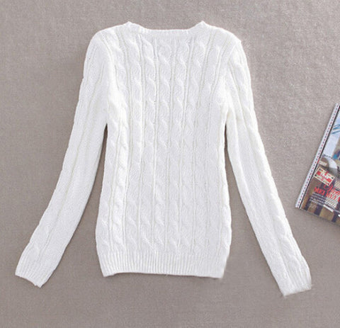 Casual Knitted Pullover O-Neck Long Sleeve