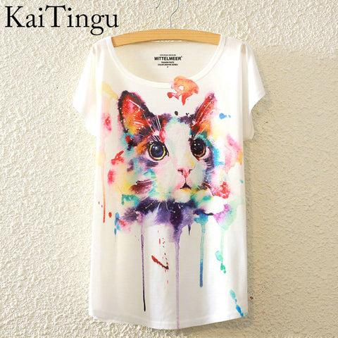 Cat Print O-Neck Short Sleeve T Shirt