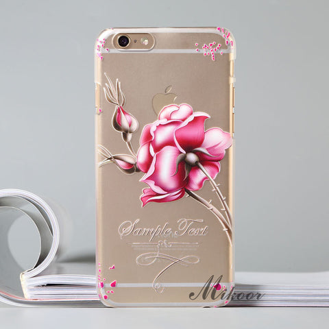 Fashion Floral Painted 3D Transparent Cover for iPhone 6