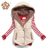 Autumn Winter Slim Velvet Vest thermal down cotton Jacket with hood