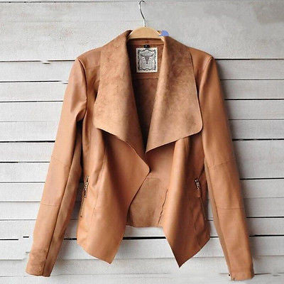 Autumn Long Sleeve Turn-Down Collar Leather Jacket
