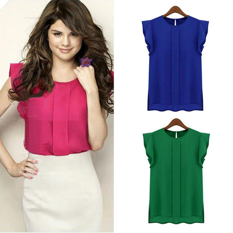 Chiffon Short Sleeve O-Neck Tops - J20Style - 1
