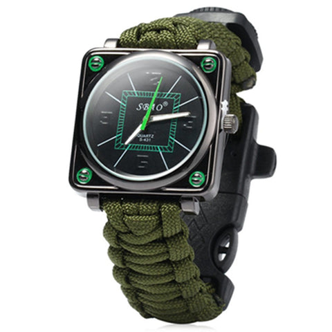 Sport Men Watch with Rope Flint Whistle Scraper Buckle