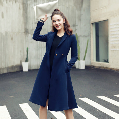 Beautiful Navy Slim Trench Coat