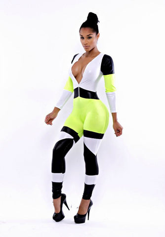 Long Sleeve Contrast Color Jumpsuit - J20Style - 2