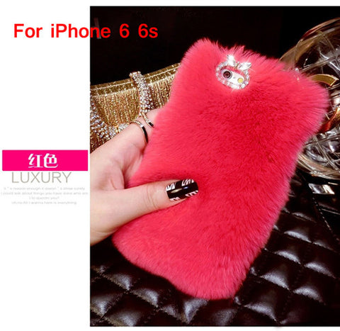 Bling Crystal Rhinestone Design Fluffy Soft Genuine Rabbit Fur Winter Warm Case for iPhone 6 6s
