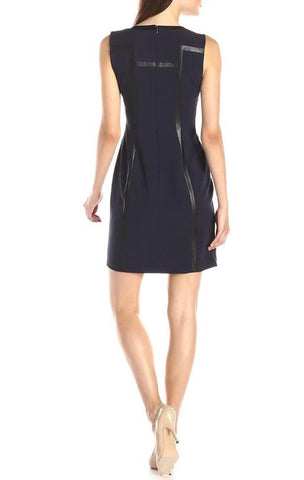 Women Sleeveless Structured Sheath Dress With Faux Leather - J20Style - 1