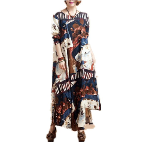 Printed Long Sleeve Maxi Dress - J20Style - 3