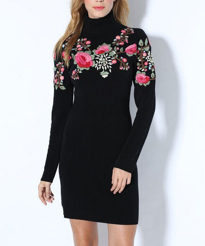 Embroidered Slim Knit Dress - J20Style