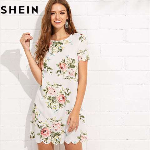 Straight Short Sleeve Floral Print Casual Mini Dress