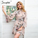 Backless lace up summer Flare sleeve floral print chiffon dress
