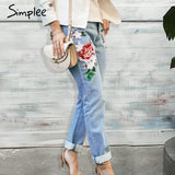 Simple Floral Embroidery Women Jeans