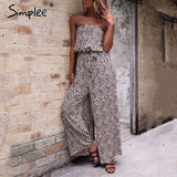 Off shoulder Leopard Long Length Jumpsuit