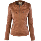 Detachable Hooded Faux Leather with Lapel Pockets Women Coat