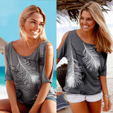 Slit Sleeve Cold Off  Shoulder Feather Print Casual Summer TShirt