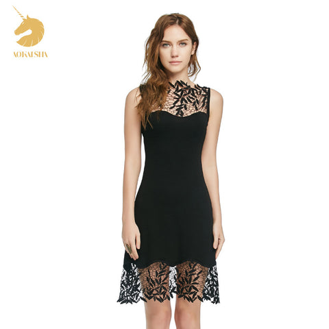Sexy Lace Stitching Pierced Black Slim Short Dress