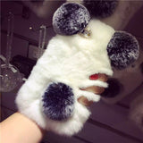 Super Cute PANDA Real Rex Rabbit Fur iPhone Case For Iphone 7 6 6S Plus