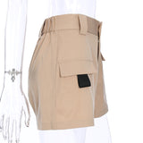Casual  High Waisted Straight Cotton Shorts