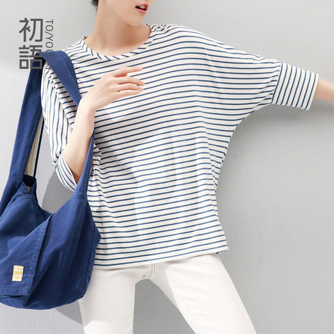 O Neck Batwing Half Sleeve Casual Stripe T Shirt