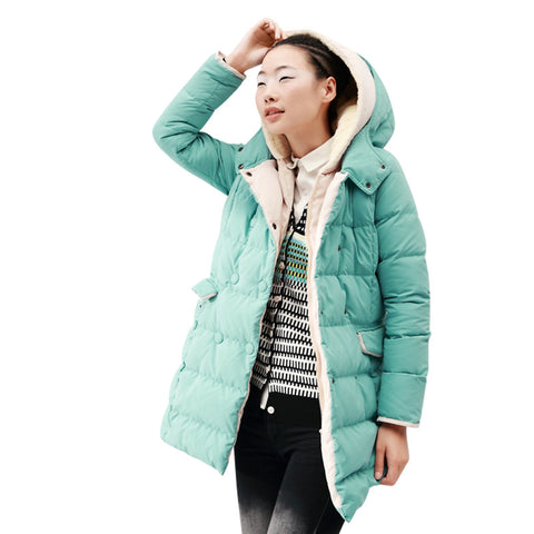 Hooded Double Breast Warm Snow Coat