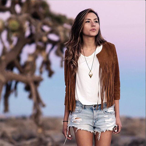 Women Biker Fringed Brown Jacket