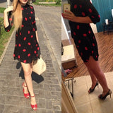 Cute Red Lips Print Chiffon Dress with Sashes