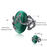 Emrald Green Stone with Anillo Carved Rhinestone Bague Leaf Silver Ring