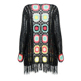 Fall Fashion Long Sleeve Floral Black Lace Women Cardigan
