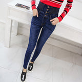 Elastic High Waist Casual Denim Jeans Pants