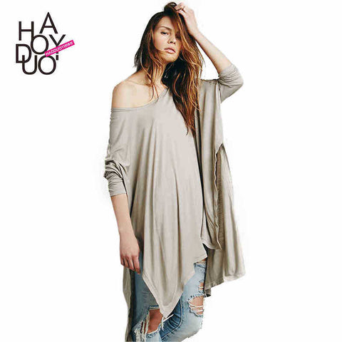 Street Style Loose Long T-Shirt with Batwing Sleeve