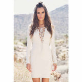 Brazilian V-Neck Strap Party Long Sleeve Dress - J20Style - 7