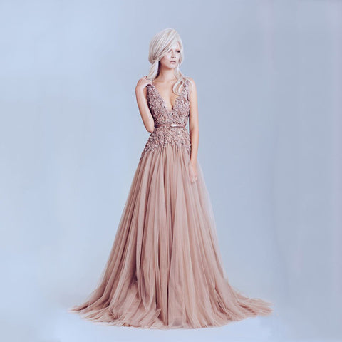 Pink Dusty Long Evening Dresses - J20Style - 1