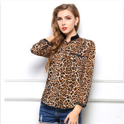 Leopard Print Chiffon shirt with long sleeves