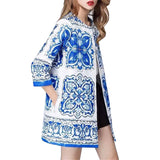 Blue White Porcelain Robe Vintage Print Long Loose Cotton Trench Coat