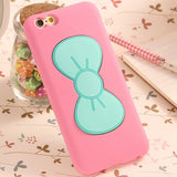 Lovely 3D Pink Girl Bow-knot Soft Silicon Rubber Case For iPhone 6