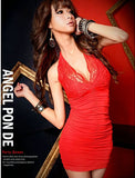 Red Big V-Collar Sleeveless Party Dress - J20Style - 2