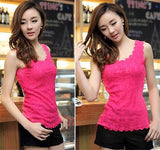 Candy Color Floral Lace Short T-Shirt - J20Style - 8