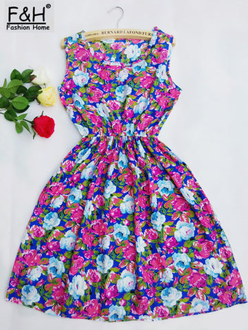 Apricot Sleeveless Round Neck Florals Print Pleated Dress