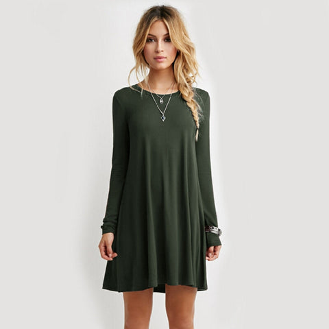Long Sleeve Casual Vestido - J20Style - 1