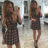 Casual Long Sleeve Plaid Printed Mini Dress - J20Style - 3