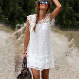 Sleeveless Solid White Lace Mini Dress - J20Style - 1